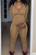 Dark Brown Euramerican Women Trendy Solid Color Zipper Long Sleeve Tight Pants Sets MF5193-7