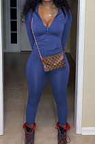Blue Euramerican Women Trendy Solid Color Zipper Long Sleeve Tight Pants Sets MF5193-9