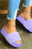 Women's Shoes Autumn Winter Tid Dye Candy Velvet Slippers XK8065