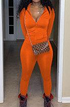 Orange Euramerican Women Trendy Solid Color Zipper Long Sleeve Tight Pants Sets MF5193-3