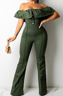 Army Green Simple Casual Flounce A Word Shoulder Button Slim Fitting Pure Color Collcet Waist Jumpsuits QZ5320-2
