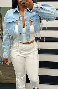Light Blue Short Long Sleeve Turn-DownCollar Solid Color Chain Fashion Jeans Irregular Tops NZ997