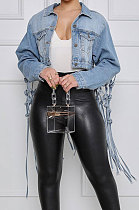 Light Blue Back Gridding Tassel Jeans Jocket NZ958