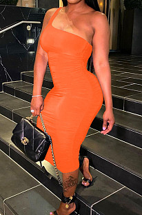 Orange Sexy Summer Oblique Shoulder Ruffle Collcet Waist Pure Color Bodycon Dress YNS1665-2