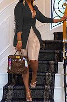 Black Euramerican Fashion Casual Bodycon Mesh Spaghetti Spliced Turn-DownCollar Small Suit Jacket AYL88881-5