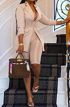 Apricot Euramerican Fashion Casual Bodycon Mesh Spaghetti Spliced Turn-DownCollar Small Suit Jacket AYL88881-1