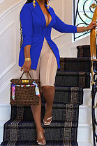 Blue Euramerican Fashion Casual Bodycon Mesh Spaghetti Spliced Turn-DownCollar Small Suit Jacket AYL88881-6