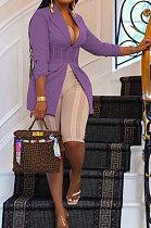 Purple Euramerican Fashion Casual Bodycon Mesh Spaghetti Spliced Turn-DownCollar Small Suit Jacket AYL88881-4