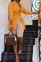 Yellow Euramerican Fashion Casual Bodycon Mesh Spaghetti Spliced Turn-DownCollar Small Suit Jacket AYL88881-2