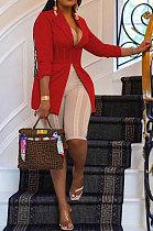 Red Euramerican Fashion Casual Bodycon Mesh Spaghetti Spliced Turn-DownCollar Small Suit Jacket AYL88881-3