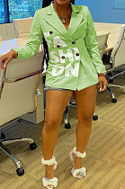 Light Green Autumn Winter Long Sleeve Small Suit OL Bodycon Double-Breasted  Jacket AYL88886-4