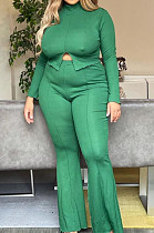 Green Wholesal Women Long Sleeve High Neck Split Top Flared Pants Solid Color Casual Sets ZQ8117