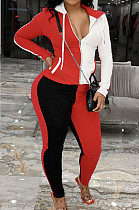 Red Wholesal Autumn Winter Contrast Color Spliced Long Sleeve Zipper Hoodie Bodycon Pants Sport Sets SMD82080-5