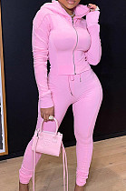 Pink Casual New Long Sleeve Zipper Hoodie Pencil Pants Slim Fitting Pure Color Sport Sets MLL176-4