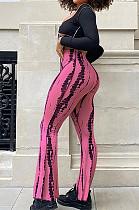 Pink New High Waist Spots Printing Flared Pants BM7210-9