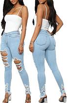 Light Blue  Fashion Hole Water Washing Slim Fitting Elastic Jean Pencil Pants SMR2458-2