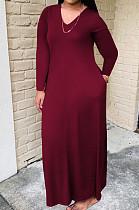 Wine Red Bid Yards Wholesal Simple Long Sleeve V Neck Loose Casual Long Dress QSS51041-3
