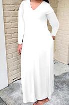 White Bid Yards Wholesal Simple Long Sleeve V Neck Loose Casual Long Dress QSS51041-5