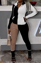 Black Wholesal Autumn Winter Contrast Color Spliced Long Sleeve Zipper Hoodie Bodycon Pants Sport Sets SMD82080-4