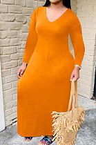 Orange Bid Yards Wholesal Simple Long Sleeve V Neck Loose Casual Long Dress QSS51041-4