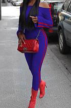Royal Blue Fashion Casual A Wrod Shoulder Long Sleeve Crop Top Pencil Pants Edge Strip Sport Sets SM9201-1