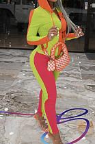 Light Green Wholesal Autumn Winter Contrast Color Spliced Long Sleeve Zipper Hoodie Bodycon Pants Sport Sets SMD82080-1