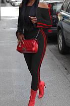 Black Fashion Casual A Wrod Shoulder Long Sleeve Crop Top Pencil Pants Edge Strip Sport Sets SM9201-3