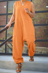 Orange Women Sleeveless V Collar Solid Color Fleece Loose High Waist Casual Jumpsuit OMY0027-4