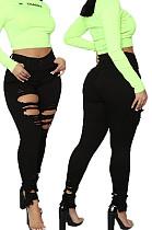 Black Fashion Hole Water Washing Slim Fitting Elastic Jean Pencil Pants SMR2458-4