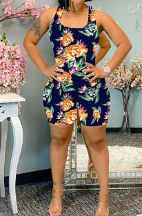 Orange Summer Casaul Positioning Print Tank Slim Fitting Romper Shorts WA77217-2