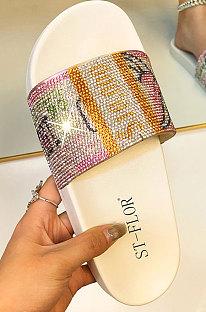 Fashion Dollar Crystal Flat Slipper KW88T27-17