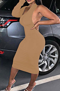 Khaki New Pure Color Oblique Shoulder One Sleeve Backless Slim Fitting Bodycon Dress WJ5228-1