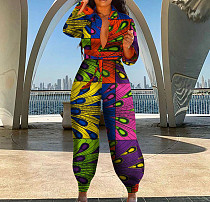 Multicolor Women Long Sleeve High Waist Printing Casual Jumpsuit OMY0032
