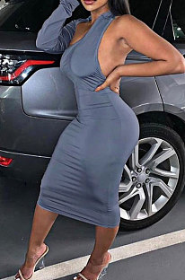 Gray New Pure Color Oblique Shoulder One Sleeve Backless Slim Fitting Bodycon Dress WJ5228-2