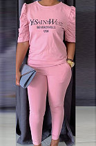 Pink Modest Offset Printing Puff Sleeve Round Neck T-Shirt With Pocket Pencil Pants Pure Color Two-Piece ALS197-1