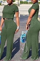 Green Euramerican Sexy Women Dew Waist Short Sleeve Pocket Pure Color Pants Sets KF61-7