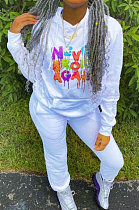 White Cotton Blend Digital Print Long Sleeve Hoodie Sweat Pants Casual Sets YSH6217-1