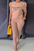 Khaki Modest Offset Printing Puff Sleeve Round Neck T-Shirt With Pocket Pencil Pants Pure Color Two-Piece ALS197-2