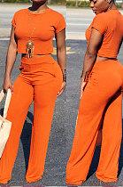 Orange Euramerican Sexy Women Dew Waist Short Sleeve Pocket Pure Color Pants Sets KF61-6