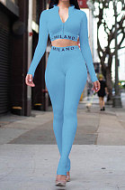 Sky Blue Simple Women Letter Print Long Sleeve Zipper Crop Top Bodycon Pants Slim Fitting Two-Piece ALS209-2