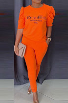 Orange Modest Offset Printing Puff Sleeve Round Neck T-Shirt With Pocket Pencil Pants Pure Color Two-Piece ALS197-4
