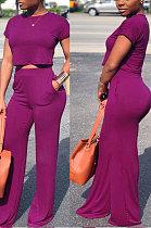 Purple Red Euramerican Sexy Women Dew Waist Short Sleeve Pocket Pure Color Pants Sets KF61-4
