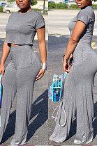 Dark Gray Euramerican Sexy Women Dew Waist Short Sleeve Pocket Pure Color Pants Sets KF61-5