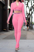 Pink Simple Women Letter Print Long Sleeve Zipper Crop Top Bodycon Pants Slim Fitting Two-Piece ALS209-5