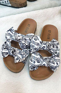 Fashion Paisley Bowknot Flat Slippers KW41T17-1