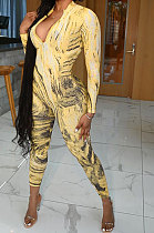 Yellow Autumn Winter Women Wave Printing Zipper SlimFitting Long Sleeve Sexy Bodycon Jumpsuits Q937-2