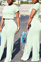 Light Blue Euramerican Sexy Women Dew Waist Short Sleeve Pocket Pure Color Pants Sets KF61-8