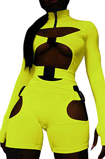 LemonYellow Women Club Wear Hollow Out Solid Color Buckle Long Sleeve Sexy Romper Shorts Q940-6