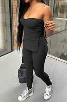 Black Women Ribber Solid Color Strapless Split Tops Long Pants Casual Two-Pieces Q935-3