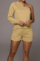 Khaki Modest Autumn One Sleeve Oblique Shoulder Top Drawsting Shorts Casual Sets FH157-5